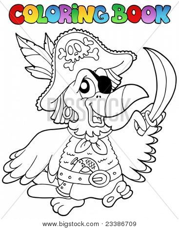 Livro de colorir com o papagaio de pirata - ilustração vetorial.