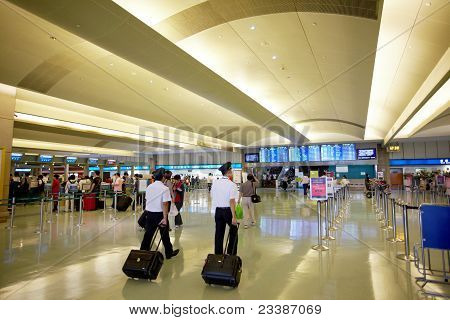 Touyuan County,taiwan,july, 7Th, 2011: Luby Of C.k.s. International Airport With Airline Crews