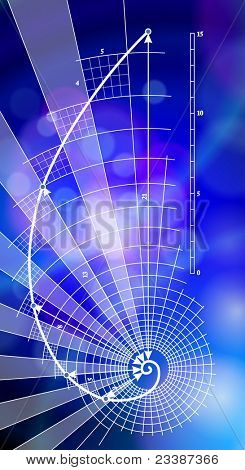 Golden Ratio (Golden Proportion) & blue ecology background. Bitmap copy my vector ID 76322236