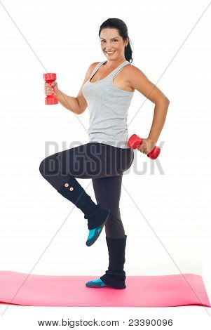 Happy Woman Doing Fitness With Barbell