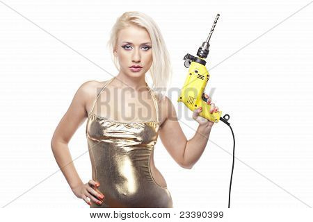 Beautiful Blonde With A Power Drill