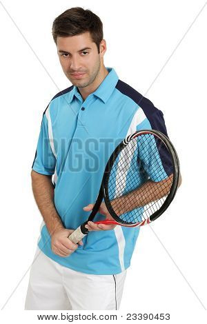 Male Tennis Player Holding Racket