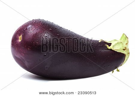Single Eggplant On White Background With Shadow