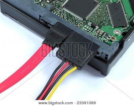 hard disk drive with sata and power pluged
