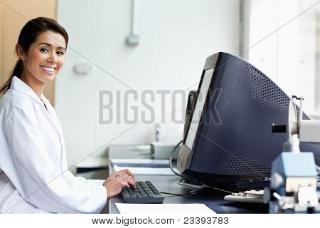 Science Student With A Monitor