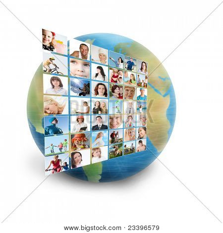 social network collage with many people