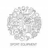 Sport Equipment In Circle - Concept Line Illustration For Cover, Emblem, Badge. Sport Fitness Equipm poster