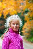 Schoolage Girl Autumn Outdoor Portrait