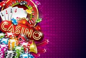 Casino Illustration With Roulette Wheel And Playing Chips On Violet Background. Vector Gambling Desi poster