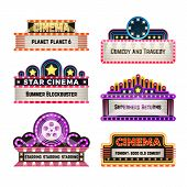 Old Theater Movie Neo Light Signboards In 1930s Retro Style. Blank Cinema And Casino Vector Banners. poster