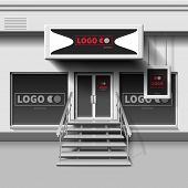 Shop Exterior Vector Template. 3d Storefront With Entrance Door. Illustration Of Storefront Store An poster