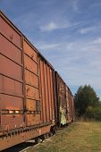 picture of freightliner  - Railroad boxcars waiting in a railway yard - JPG