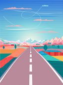Road Trip To Rocky Mountains Poster With Blue Sky, Airplane, Rural Landscape, Adventure, Traveling,  poster
