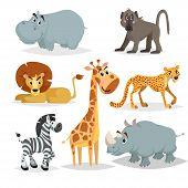 African Animals Cartoon Set. Hippo, Baboon Monkey, Lion, Giraffe, Cheetah, Zebra And Rhino. Zoo Mamm poster