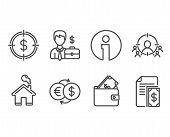 Set Of Businessman Case, Wallet And Money Exchange Icons. Business Targeting, Dollar Target And Paym poster