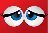 stock photo of hypertrophy  - hypertrophied huge balls bulging eyes on a red background - JPG