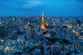 Aerial View Of Tokyo City View With Tokyo Tower In Night Time . Tokyo Is A Most Popular City In Asia poster