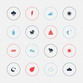 Set Of 16 Editable Climate Icons. Includes Symbols Such As Sun, Electrical Discharge, Climate And Mo poster