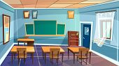 Vector Cartoon Empty Elementary High School, College, University Classroom Background. Illustration  poster
