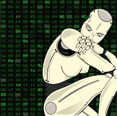 Female Robot, With Its Artificial Intelligence, Sits Lost In Thought On A Background Of Binary Code. poster