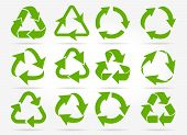 Recycled Arrows. Green Reusable Arrow Icons, Eco Recycle Or Recycling Vector Signs Isolated On White poster