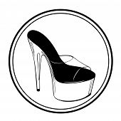 Logo Pole Dance Lettering With Pole Dance Stripper Shoes. Hand Sketched For Fitness, Athlete, Stript poster