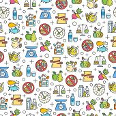 Healthy Diet Icons Seamless Pattern, Healthy Eating, Rational Nutrition Icons, Slimming Loss Weight, poster