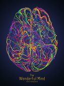 Vector Colorful Illustration Of Human Brain With Synapses. Conceptual Image Of Idea Birth, Creative  poster