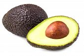 Avocado Isolated On White Background. Black Avocado Haas Close Up May Use For Product  Package Desig poster