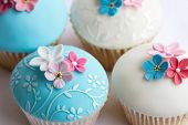stock photo of sugar paste  - Wedding cupcakes - JPG