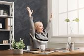 Sucessful Project. Happy Business Woman, Sitting At Table In Office And Keeping Arms Outstretched ,  poster
