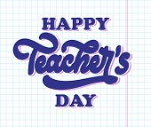 Happy National Teachers Day Lettering. Creative Abstract Poster For Happy Teachers Day With Nice De poster