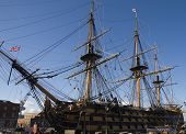 image of pirate ship  - old masts of the HMS Victory in Portsmouth - JPG