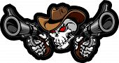 image of outlaw  - Graphic Image of a Cowboy Skull Shooting Pistols - JPG