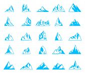 Nature Or Outdoor Mountain Silhouettes. Mountains And Travel Icons For Tourism Organizations, Outdoo poster