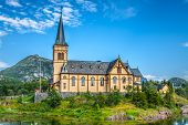 Picturesque Lofoten Cathedral On Lofoten Islands In Norway poster