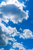 Sky Landscape Of Blue Cloudy Sky. Beautiful Blue Sky, Sunny Sky Landscape.blue Sky Background With W poster
