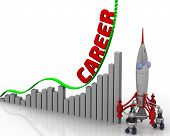 The Graph Of Career Growth. Graph Of Rapid Growth With Word Career And Rocket Launch. 3d Illustratio poster