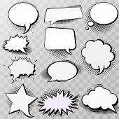 Set Of Blank Template In Pop Art Style. Vector Comic Text Speech Bubble Halftone Dot Background. Emp poster