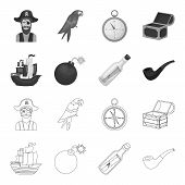 Pirate, Bandit, Ship, Sail .pirates Set Collection Icons In Outline, Monochrome Style Vector Symbol  poster