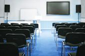 Empty Presentation Conference Room Hall Classroom Lecture Hall Lecture Room Ready For Meeting. Train poster
