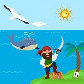 Pirate Treasure Vector Adventure Sea Nautical Symbols Nautical Character Captain Sailor With Sword I poster