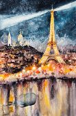 Surrealism Illustration Of Paris At Night With Eiffel Tower As Lighthouse.picture Created With Water poster