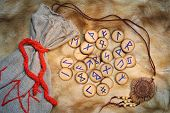 stock photo of thor  - Handmade rune set with pouch these runes were made by the photographer - JPG