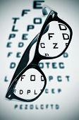 picture of snellen chart  - eyeglasses over a blurry eye chart - JPG