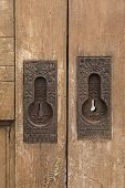 Постер, плакат: Rustic Door Locks Old Skeleton Key Locks On An Old Wooden Gate