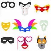 Carnival Mask. Masks For Carnival, Masquerade Masks, A Set Of Carnival Accessories. Vector Design, V poster