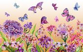 Summer Wide Banner. Vivid Iberis Flowers And Colorful Butterflies On Orange Background. Seamless Pan poster