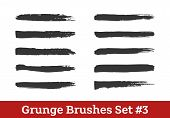 Grunge Vector Brushes Collection. Black Dry Brush Strokes Isolated On White. Ready To Use Brushes Ad poster