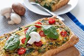 Vegan Food: Vegan Vegetable Tart With Spinach, Mushrooms, Tomato And Thyme poster